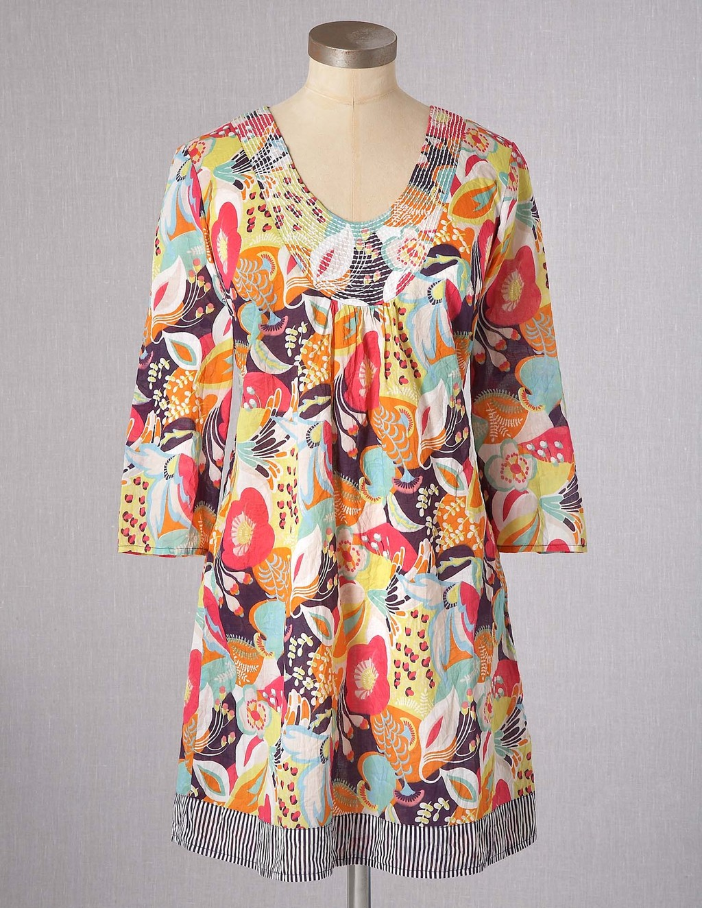 Toulon Tunic - neckline: round neck; length: below the bottom; style: tunic; occasions: casual; fibres: cotton - 100%; fit: loose; predominant colour: multicoloured; sleeve length: 3/4 length; sleeve style: standard; texture group: cotton feel fabrics; pattern type: fabric; pattern: florals; season: s/s 2013; pattern size: big & busy (top); multicoloured: multicoloured
