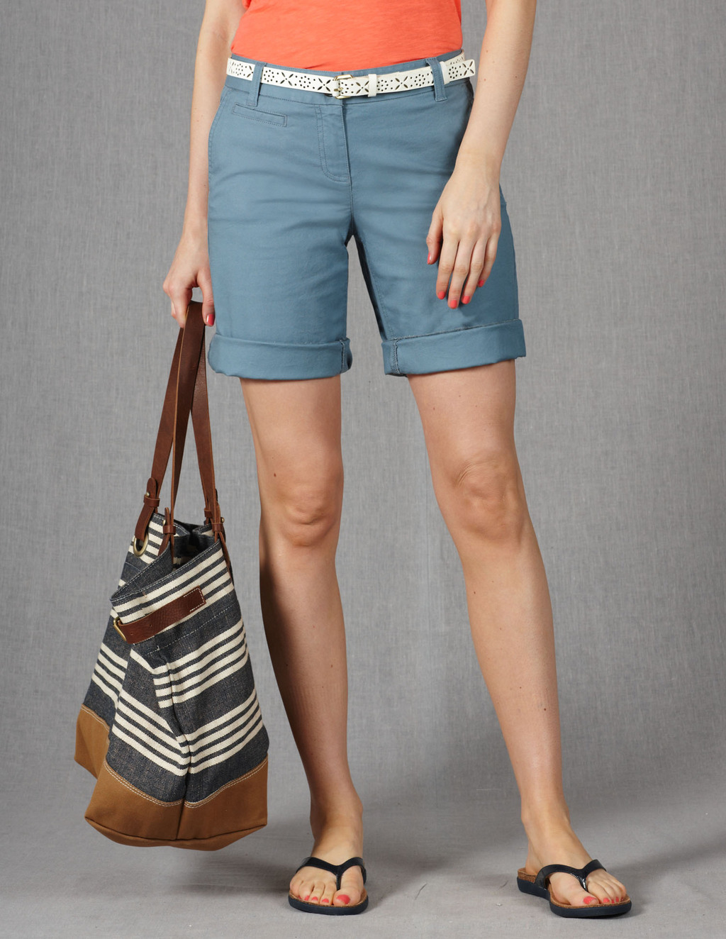 Off Duty Shorts - pattern: plain; waist detail: belted waist/tie at waist/drawstring; waist: mid/regular rise; predominant colour: denim; occasions: casual, holiday; fibres: cotton - stretch; texture group: cotton feel fabrics; pattern type: fabric; season: s/s 2013; pattern size: standard (bottom); style: shorts; length: mid thigh shorts; fit: slim leg; wardrobe: holiday