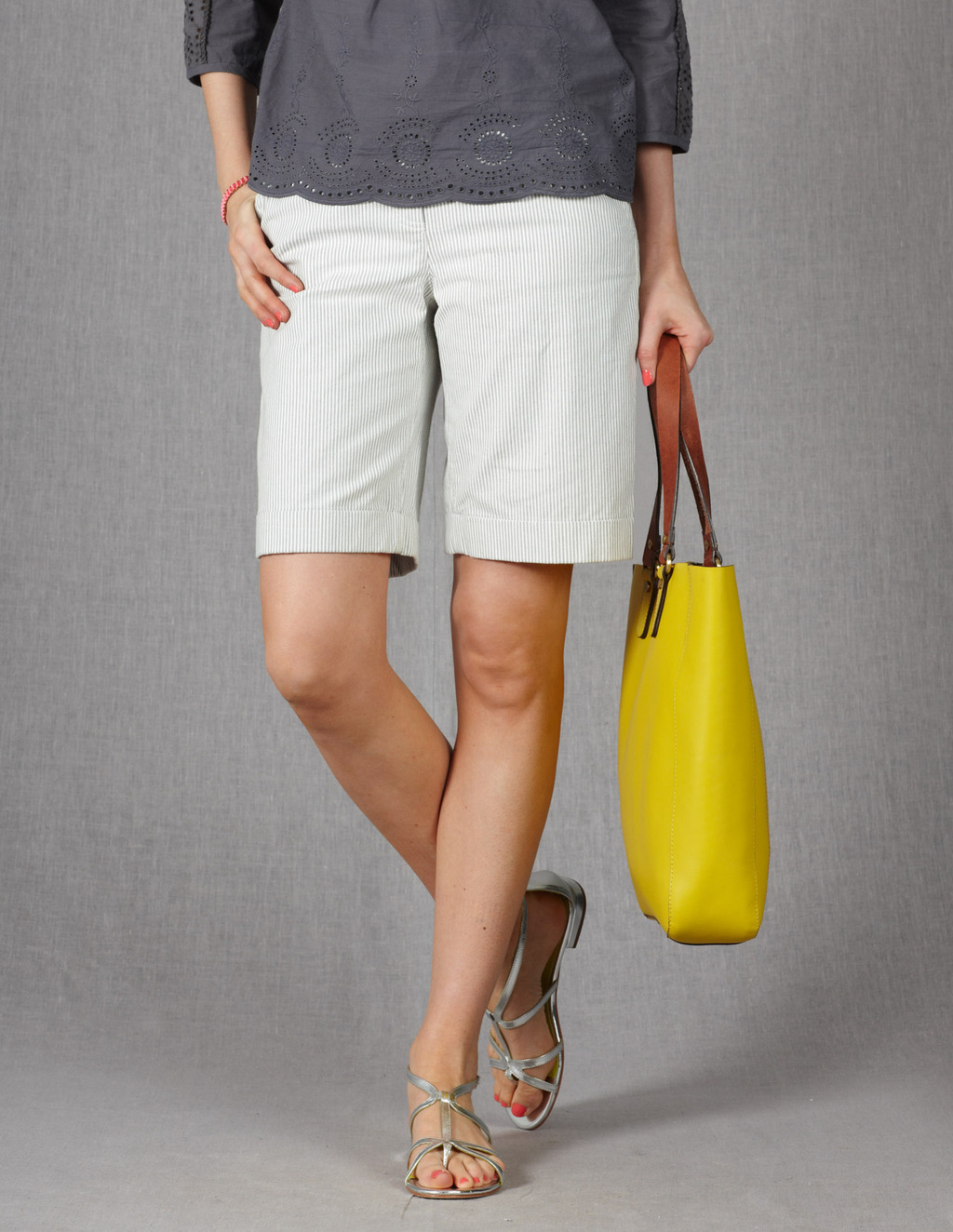 Off Duty Shorts - pattern: vertical stripes; waist: mid/regular rise; secondary colour: white; predominant colour: light grey; occasions: casual, holiday; fibres: cotton - stretch; texture group: cotton feel fabrics; pattern type: fabric; season: s/s 2013; pattern size: light/subtle (bottom); style: shorts; length: just above the knee; fit: standard