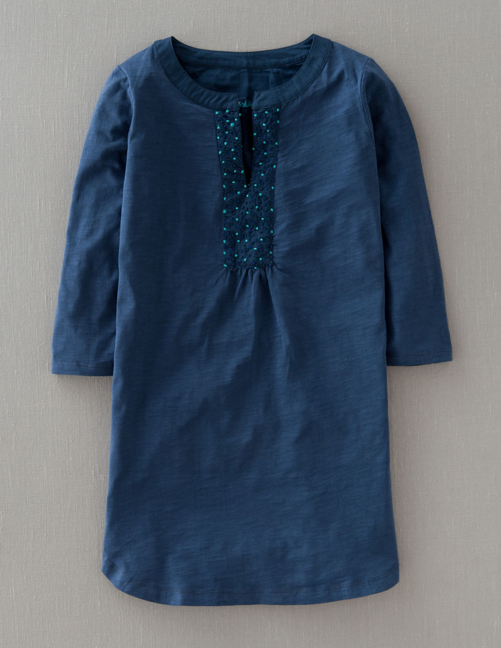 Throw On Notch Neck - neckline: round neck; pattern: plain; length: below the bottom; style: tunic; bust detail: subtle bust detail; predominant colour: navy; secondary colour: turquoise; occasions: casual, holiday; fibres: cotton - 100%; fit: straight cut; sleeve length: 3/4 length; sleeve style: standard; texture group: cotton feel fabrics; pattern type: fabric; embellishment: beading; season: s/s 2013; wardrobe: highlight