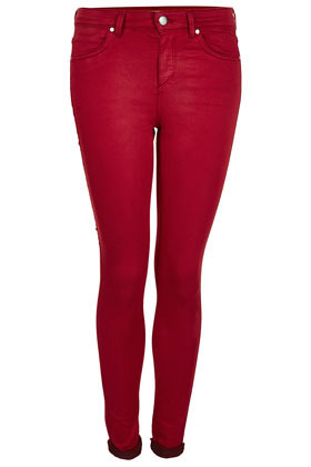 Moto Cherry Leigh Skinny Jean - style: skinny leg; pattern: plain; pocket detail: traditional 5 pocket; waist: mid/regular rise; predominant colour: true red; occasions: casual; length: ankle length; fibres: cotton - stretch; jeans detail: dark wash; jeans & bottoms detail: turn ups; texture group: denim; pattern type: fabric; season: s/s 2013; pattern size: standard (bottom)