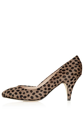 Jilted Almond Toe Heels - predominant colour: taupe; occasions: casual, evening, work, occasion; material: leather; heel height: mid; heel: cone; toe: pointed toe; style: courts; finish: plain; pattern: animal print; season: s/s 2013
