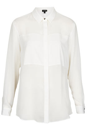 Longsleeve Panel Detail Shirt - neckline: shirt collar/peter pan/zip with opening; pattern: plain; style: shirt; predominant colour: white; occasions: casual, evening, work; length: standard; fibres: polyester/polyamide - 100%; fit: straight cut; sleeve length: long sleeve; sleeve style: standard; texture group: sheer fabrics/chiffon/organza etc.; pattern type: fabric; pattern size: standard; season: s/s 2013