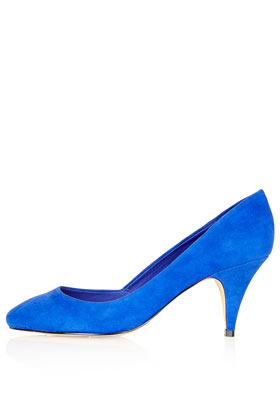 Jilted Almond Toe Heels - predominant colour: diva blue; occasions: casual, evening, work, occasion; material: suede; heel height: mid; heel: cone; toe: pointed toe; style: courts; finish: plain; pattern: plain; season: s/s 2013