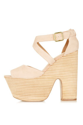 Lacie Cut Out Platforms - predominant colour: nude; occasions: casual; material: suede; heel height: high; embellishment: buckles; ankle detail: ankle strap; heel: block; toe: open toe/peeptoe; style: standard; finish: plain; pattern: plain; shoe detail: platform; season: s/s 2013
