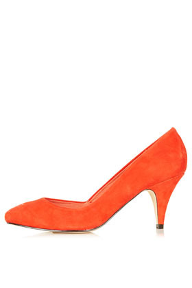 Jilted Almond Toe Heels - predominant colour: bright orange; occasions: casual, evening, work, occasion; material: suede; heel height: mid; heel: standard; toe: pointed toe; style: courts; finish: plain; pattern: plain; season: s/s 2013