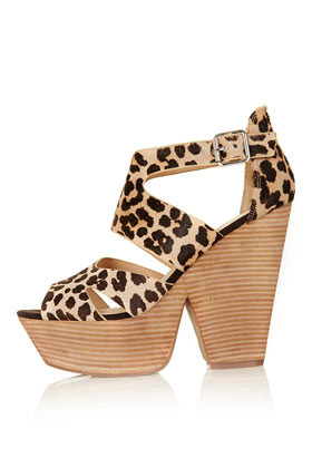 Lanie Cut Out Platforms - predominant colour: camel; occasions: casual; material: leather; heel height: high; embellishment: buckles; ankle detail: ankle strap; heel: block; toe: open toe/peeptoe; style: standard; finish: plain; pattern: animal print; shoe detail: platform; season: s/s 2013