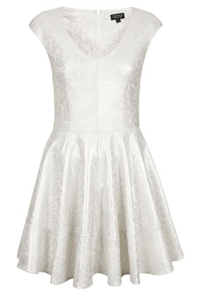 Foil Bonded Lace Skater Dress - length: mid thigh; neckline: low v-neck; sleeve style: capped; waist detail: fitted waist; predominant colour: ivory/cream; occasions: evening, occasion; fit: fitted at waist & bust; style: fit & flare; fibres: polyester/polyamide - 100%; hip detail: adds bulk at the hips; sleeve length: sleeveless; texture group: lace; trends: metallics; pattern type: fabric; pattern size: standard; pattern: patterned/print; season: s/s 2013
