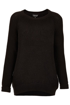 Mix Knit Slouchy Jumper - neckline: round neck; style: standard; predominant colour: black; occasions: casual; length: standard; fibres: acrylic - 100%; fit: loose; back detail: longer hem at back than at front; sleeve length: long sleeve; sleeve style: standard; texture group: knits/crochet; pattern type: knitted - other; season: s/s 2013