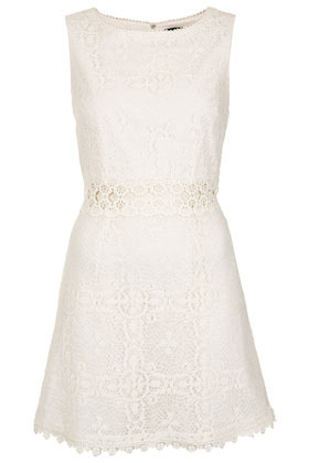 60s Lace Panel Shift Dress - length: mid thigh; neckline: round neck; sleeve style: sleeveless; waist detail: embellishment at waist/feature waistband; predominant colour: ivory/cream; occasions: casual, evening, occasion, holiday; fit: fitted at waist & bust; style: fit & flare; fibres: cotton - mix; sleeve length: sleeveless; texture group: lace; pattern type: fabric; pattern size: standard; pattern: patterned/print; season: s/s 2013