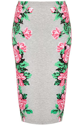 Pixel Flower Tube Skirt - length: below the knee; fit: tight; waist: high rise; predominant colour: light grey; occasions: casual, evening, work, holiday; fibres: polyester/polyamide - mix; style: tube; hip detail: contrast fabric/print detail at hip; trends: high impact florals; pattern type: fabric; pattern: florals; texture group: jersey - stretchy/drapey; season: s/s 2013; pattern size: standard (bottom)