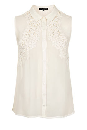 Petite Floral Crochet Blouse - neckline: shirt collar/peter pan/zip with opening; sleeve style: sleeveless; style: blouse; predominant colour: ivory/cream; occasions: casual, evening, work; length: standard; fibres: polyester/polyamide - 100%; fit: straight cut; bust detail: contrast pattern/fabric/detail at bust; sleeve length: sleeveless; texture group: sheer fabrics/chiffon/organza etc.; pattern type: fabric; pattern size: light/subtle; embellishment: embroidered; season: s/s 2013