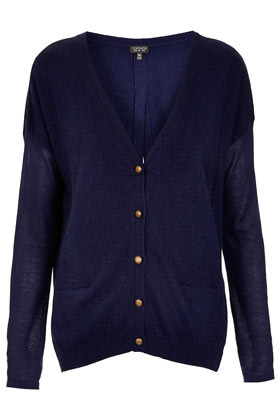 Knitted Split Back Cardi - neckline: low v-neck; bust detail: buttons at bust (in middle at breastbone)/zip detail at bust; predominant colour: navy; occasions: casual, work; length: standard; style: standard; fibres: polyester/polyamide - stretch; fit: loose; back detail: keyhole/peephole detail at back; sleeve length: long sleeve; sleeve style: standard; texture group: knits/crochet; pattern type: knitted - fine stitch; season: s/s 2013