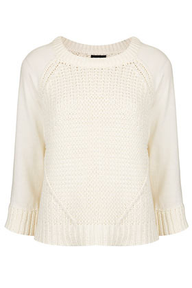 Knitted Mixed Rib Jumper - neckline: round neck; style: standard; predominant colour: ivory/cream; occasions: casual; length: standard; fibres: cotton - mix; fit: standard fit; sleeve length: 3/4 length; sleeve style: standard; texture group: knits/crochet; pattern type: knitted - big stitch; season: s/s 2013