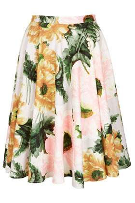 Flower Calf Skirt - length: mid thigh; style: full/prom skirt; fit: loose/voluminous; waist detail: fitted waist; waist: high rise; occasions: casual, evening, work, occasion, holiday; fibres: cotton - stretch; hip detail: soft pleats at hip/draping at hip/flared at hip; predominant colour: multicoloured; trends: high impact florals, volume; pattern type: fabric; texture group: jersey - stretchy/drapey; season: s/s 2013; pattern size: big & busy (bottom); multicoloured: multicoloured