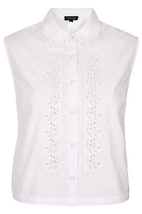 Cotton Embroidered Shirt - neckline: shirt collar/peter pan/zip with opening; sleeve style: sleeveless; bust detail: added detail/embellishment at bust; style: shirt; predominant colour: white; occasions: casual, work; length: standard; fibres: cotton - 100%; fit: straight cut; sleeve length: sleeveless; texture group: cotton feel fabrics; pattern type: fabric; pattern size: standard; embellishment: embroidered; season: s/s 2013