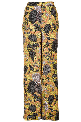 Safari Floral Trousers - length: standard; pocket detail: pockets at the sides; waist: mid/regular rise; predominant colour: black; occasions: casual, evening, occasion; fibres: polyester/polyamide - 100%; waist detail: feature waist detail; trends: high impact florals, statement prints; fit: wide leg; pattern type: fabric; pattern: florals; texture group: other - light to midweight; style: standard; season: s/s 2013; pattern size: big & busy (bottom)
