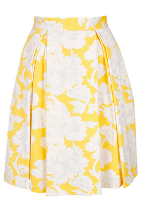 Yellow Floral Pleat Calf Skirt - fit: body skimming; style: pleated; waist detail: fitted waist; waist: high rise; predominant colour: yellow; occasions: casual, evening, work, occasion, holiday; length: just above the knee; fibres: cotton - stretch; hip detail: adds bulk at the hips; trends: high impact florals, volume; pattern type: fabric; pattern: florals; texture group: other - light to midweight; season: s/s 2013; pattern size: big & busy (bottom)