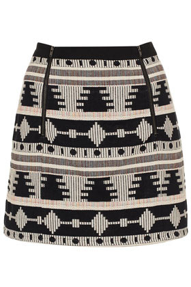 Tall Ikat Blanket Pelmet Skirt - length: mini; fit: loose/voluminous; waist detail: elasticated waist; waist: mid/regular rise; predominant colour: black; occasions: casual, evening, work, holiday; style: mini skirt; fibres: cotton - 100%; pattern type: fabric; pattern: patterned/print; texture group: woven light midweight; season: s/s 2013; pattern size: big & busy (bottom); wardrobe: highlight