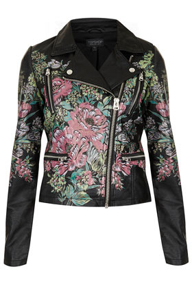 Printed Floral Biker Jacket - style: biker; collar: asymmetric biker; fit: slim fit; predominant colour: black; occasions: casual; length: standard; fibres: viscose/rayon - 100%; sleeve length: long sleeve; sleeve style: standard; texture group: leather; trends: high impact florals; collar break: medium; pattern type: fabric; pattern: florals; season: s/s 2013; pattern size: big & busy (top)
