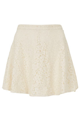 Petite Lace Skater Skirt - length: mid thigh; style: full/prom skirt; fit: loose/voluminous; waist: mid/regular rise; predominant colour: ivory/cream; occasions: casual, evening, work, occasion, holiday; fibres: cotton - mix; hip detail: subtle/flattering hip detail; waist detail: feature waist detail; texture group: lace; trends: volume; pattern type: fabric; pattern: patterned/print; season: s/s 2013; pattern size: standard (bottom)