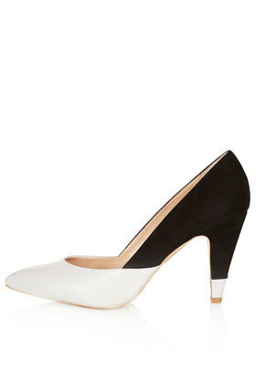 Glimpse Colour Mix Court Heels - predominant colour: black; occasions: evening, work, occasion; material: leather; heel height: high; heel: cone; toe: pointed toe; style: courts; finish: plain; pattern: colourblock; season: s/s 2013