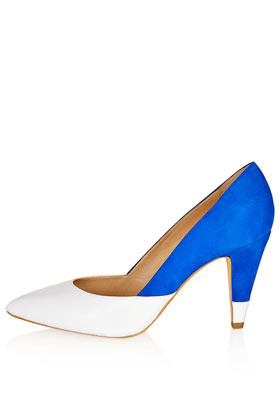 Glimpse Colour Mix Court Heels - predominant colour: diva blue; occasions: evening, work, occasion; material: leather; heel height: high; heel: cone; toe: pointed toe; style: courts; finish: plain; pattern: colourblock; season: s/s 2013