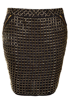 Premium Grid Embellished Skirt - pattern: plain; fit: body skimming; waist: mid/regular rise; predominant colour: black; occasions: casual, evening, work, occasion, holiday; length: just above the knee; style: mini skirt; fibres: cotton - 100%; hip detail: added detail/embellishment at hip; waist detail: narrow waistband; texture group: structured shiny - satin/tafetta/silk etc.; trends: metallics, modern geometrics; pattern type: fabric; embellishment: beading; season: s/s 2013; pattern size: standard (bottom)