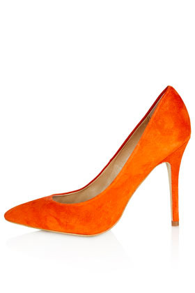 Gwenda Pointed Courts - predominant colour: bright orange; occasions: evening, work, occasion; material: suede; heel height: high; heel: stiletto; toe: pointed toe; style: courts; finish: plain; pattern: plain; season: s/s 2013
