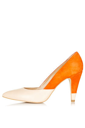 Glimpse Colour Mix Court Heels - predominant colour: bright orange; occasions: evening, work, occasion; material: leather; heel height: high; heel: cone; toe: pointed toe; style: courts; finish: plain; pattern: colourblock; season: s/s 2013