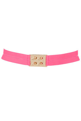 Elastic Lock Belt - predominant colour: pink; occasions: casual, evening, work, holiday; type of pattern: standard; style: elasticated; size: standard; worn on: waist; material: fabric; pattern: plain; trends: fluorescent; finish: plain; embellishment: chain/metal; season: s/s 2013