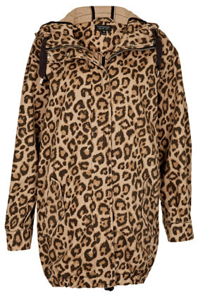 Leopard Ovoid Parka Jacket - length: below the bottom; style: parka; back detail: hood; collar: high neck; predominant colour: chocolate brown; occasions: casual, work; fit: straight cut (boxy); fibres: cotton - 100%; sleeve length: long sleeve; sleeve style: standard; texture group: cotton feel fabrics; trends: statement prints; collar break: high; pattern type: fabric; pattern size: standard; pattern: animal print; season: s/s 2013