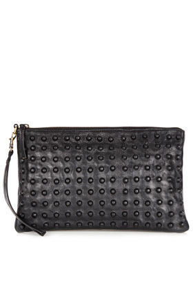 Covered Stud Clutch - predominant colour: black; occasions: casual, evening, occasion; type of pattern: small; style: clutch; length: hand carry; size: standard; material: leather; embellishment: studs; pattern: plain; finish: plain; season: s/s 2013
