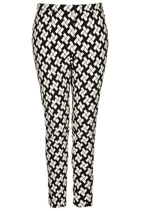 Block Print Skinny Trousers - length: standard; pocket detail: small back pockets, pockets at the sides; waist: mid/regular rise; predominant colour: black; occasions: casual, evening, work, holiday; fibres: polyester/polyamide - mix; hip detail: fitted at hip (bottoms); trends: modern geometrics; fit: slim leg; pattern type: fabric; pattern: patterned/print; texture group: woven light midweight; style: standard; season: s/s 2013; pattern size: big & busy (bottom)
