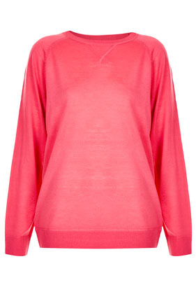 Knitted Merino Wool Sweater - neckline: round neck; style: standard; predominant colour: hot pink; occasions: casual, work; length: standard; fibres: wool - 100%; fit: standard fit; sleeve length: long sleeve; sleeve style: standard; texture group: knits/crochet; pattern type: knitted - fine stitch; season: s/s 2013