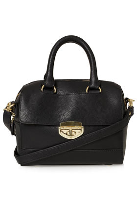 Mini Twistlock Holdall - predominant colour: black; occasions: casual, creative work; type of pattern: standard; style: doctor's bag; length: handle; size: standard; material: faux leather; pattern: plain; finish: plain; season: s/s 2013
