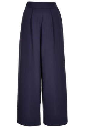 Crepe Wide Trousers Boutique - length: standard; pattern: plain; style: palazzo; waist: high rise; predominant colour: navy; occasions: casual, evening, work; fibres: cotton - mix; hip detail: front pleats at hip level; waist detail: narrow waistband; texture group: crepes; trends: volume; fit: wide leg; pattern type: fabric; season: s/s 2013