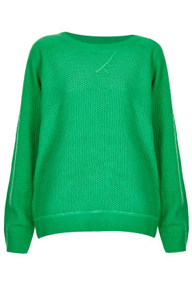 Knitted Mix Stitch Sweater - neckline: round neck; pattern: plain; style: standard; predominant colour: emerald green; occasions: casual; length: standard; fibres: acrylic - 100%; fit: loose; sleeve length: long sleeve; sleeve style: standard; texture group: knits/crochet; pattern type: knitted - other; pattern size: standard; season: s/s 2013