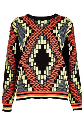 Knitted Tribal Jacquard Sweat - neckline: round neck; style: standard; back detail: contrast pattern/fabric at back; predominant colour: black; occasions: casual; length: standard; fibres: cotton - 100%; fit: standard fit; sleeve length: long sleeve; sleeve style: standard; texture group: knits/crochet; trends: modern geometrics; pattern type: fabric; pattern: patterned/print; season: s/s 2013; pattern size: big & busy (top)