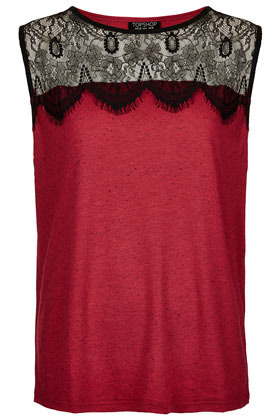 Eyelash Lace Shell Tank - neckline: round neck; sleeve style: sleeveless; predominant colour: true red; occasions: casual, evening, work; length: standard; style: top; fibres: polyester/polyamide - mix; fit: straight cut; sleeve length: sleeveless; texture group: lace; pattern type: fabric; pattern size: light/subtle; pattern: patterned/print; season: s/s 2013