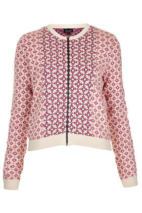 Knitted Spring Tile Jacket - collar: round collar/collarless; style: bomber; predominant colour: pink; occasions: casual; length: standard; fit: straight cut (boxy); fibres: cotton - 100%; sleeve length: long sleeve; sleeve style: standard; texture group: knits/crochet; trends: statement prints; collar break: high; pattern type: fabric; pattern size: standard; pattern: patterned/print; season: s/s 2013