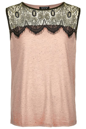 Eyelash Lace Shell Tank - neckline: round neck; pattern: plain; sleeve style: sleeveless; predominant colour: blush; occasions: casual, evening, work; length: standard; style: top; fibres: cotton - mix; fit: straight cut; shoulder detail: added shoulder detail; sleeve length: sleeveless; pattern type: fabric; pattern size: standard; texture group: jersey - stretchy/drapey; season: s/s 2013