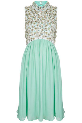 **Limited Edition High Neck Midi Dress - style: shift; pattern: plain; sleeve style: sleeveless; neckline: high neck; bust detail: added detail/embellishment at bust; predominant colour: mint green; occasions: evening, occasion; length: on the knee; fit: fitted at waist & bust; fibres: polyester/polyamide - 100%; sleeve length: sleeveless; texture group: sheer fabrics/chiffon/organza etc.; pattern type: fabric; pattern size: light/subtle; embellishment: beading; season: s/s 2013