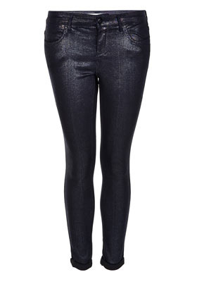 Petite Moto Glitter Leigh Jeans - style: skinny leg; length: standard; pattern: plain; pocket detail: traditional 5 pocket; waist: mid/regular rise; predominant colour: black; occasions: casual, evening; fibres: cotton - stretch; jeans detail: dark wash; jeans & bottoms detail: turn ups; texture group: denim; trends: metallics; pattern type: fabric; season: s/s 2013; pattern size: standard (bottom)