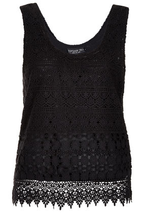 Tall Crochet Vest - sleeve style: standard vest straps/shoulder straps; style: vest top; predominant colour: black; occasions: casual, evening, holiday; length: standard; neckline: scoop; fibres: cotton - 100%; fit: loose; sleeve length: sleeveless; texture group: lace; pattern type: fabric; pattern size: standard; pattern: patterned/print; season: s/s 2013