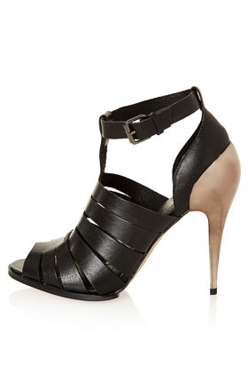 Grind Cut Out Cup Heels - predominant colour: black; occasions: evening, occasion; material: leather; heel height: high; ankle detail: ankle strap; heel: stiletto; toe: open toe/peeptoe; style: strappy; finish: plain; pattern: plain; season: s/s 2013