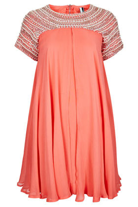 **Limited Edition Pearl Shift Dress - style: shift; length: mid thigh; fit: loose; bust detail: added detail/embellishment at bust; shoulder detail: contrast pattern/fabric at shoulder; predominant colour: coral; occasions: evening, occasion; fibres: polyester/polyamide - 100%; neckline: crew; hip detail: soft pleats at hip/draping at hip/flared at hip; sleeve length: short sleeve; sleeve style: standard; texture group: sheer fabrics/chiffon/organza etc.; pattern type: fabric; pattern size: light/subtle; embellishment: beading; season: s/s 2013