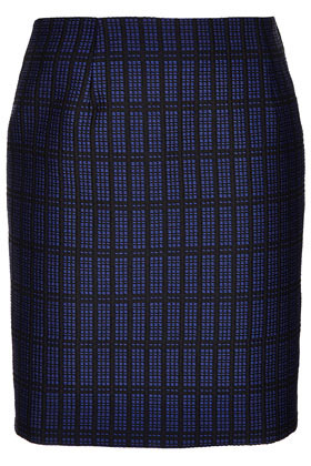 Graphic Check Pencil Boutique - pattern: checked/gingham; style: straight; waist: mid/regular rise; predominant colour: navy; occasions: casual, evening, work; length: just above the knee; fibres: cotton - mix; texture group: ornate wovens; trends: modern geometrics; fit: straight cut; pattern type: fabric; season: s/s 2013; pattern size: light/subtle (bottom)