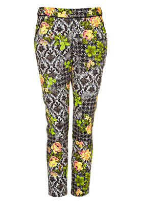 Petite Acid Leaf Print Trousers - pocket detail: pockets at the sides; waist: mid/regular rise; predominant colour: charcoal; occasions: casual, evening, work, holiday; length: ankle length; fibres: cotton - stretch; waist detail: feature waist detail; texture group: cotton feel fabrics; trends: high impact florals, statement prints, fluorescent; fit: slim leg; pattern type: fabric; pattern: florals; style: standard; season: s/s 2013; pattern size: big & busy (bottom)