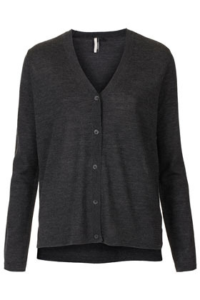 Knitted Merino V Neck Cardi - neckline: low v-neck; pattern: plain; bust detail: buttons at bust (in middle at breastbone)/zip detail at bust; predominant colour: charcoal; occasions: casual, work; length: standard; style: standard; fibres: wool - 100%; fit: standard fit; sleeve length: long sleeve; sleeve style: standard; texture group: knits/crochet; pattern type: knitted - fine stitch; pattern size: standard; season: s/s 2013